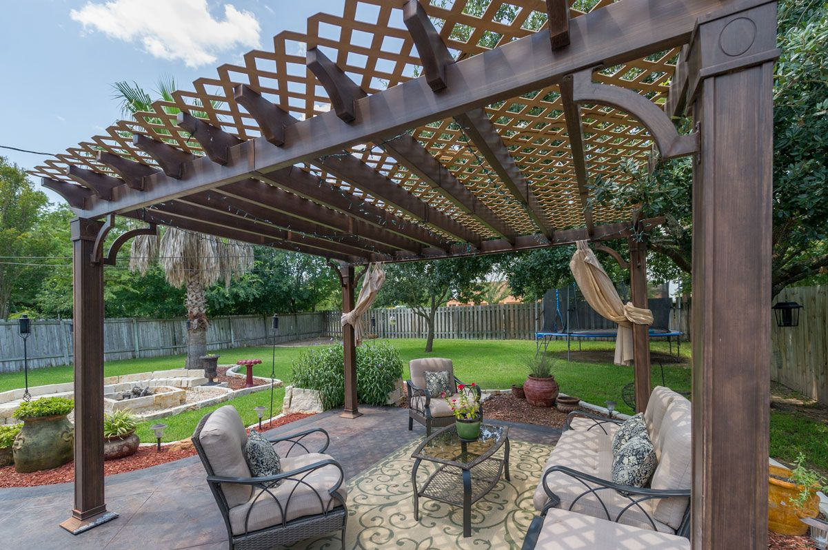 The beautiful, custom stained/stamped patio overlooks a ...