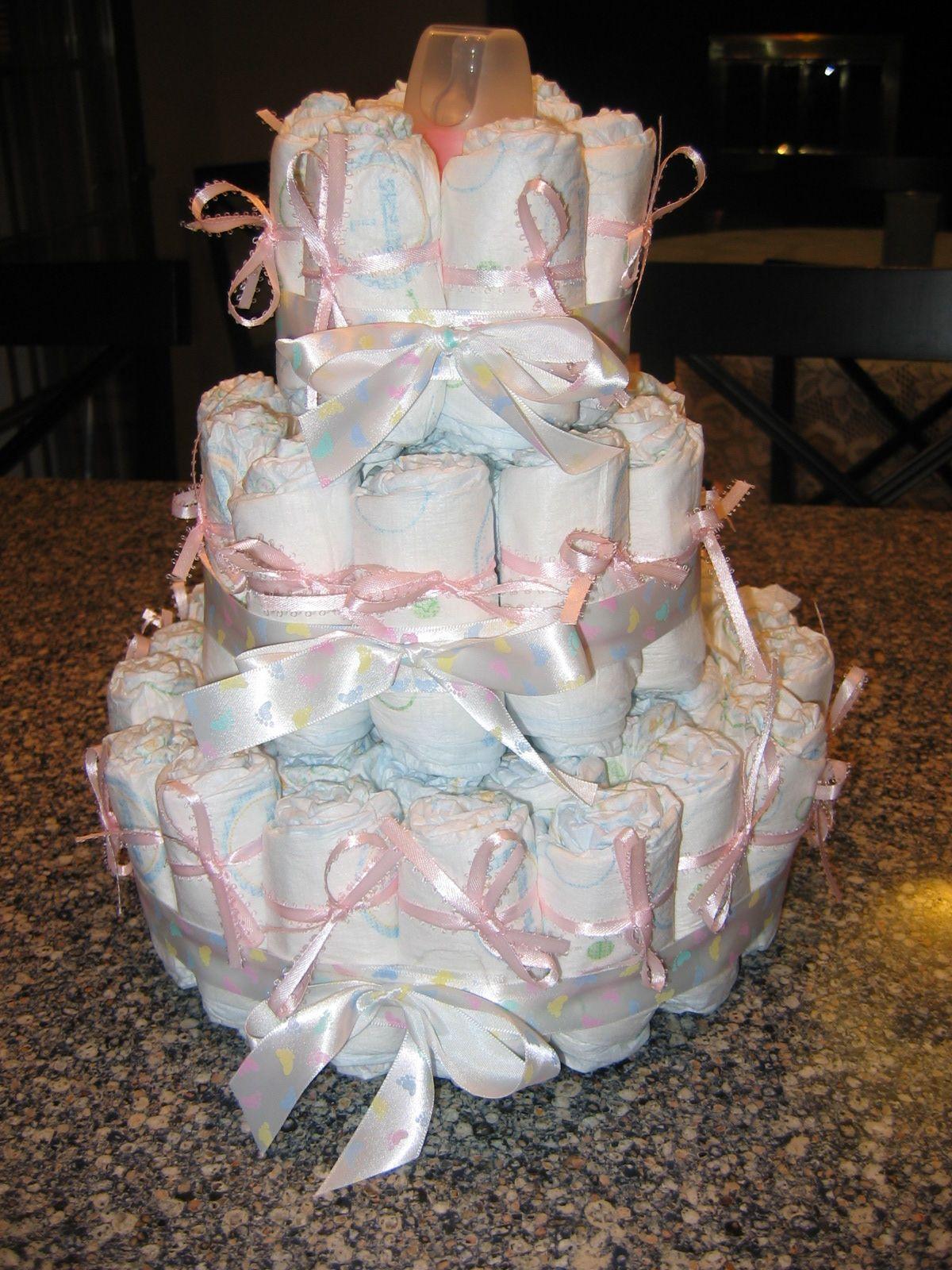 Diaper cake centerpiece for baby shower diaper cake