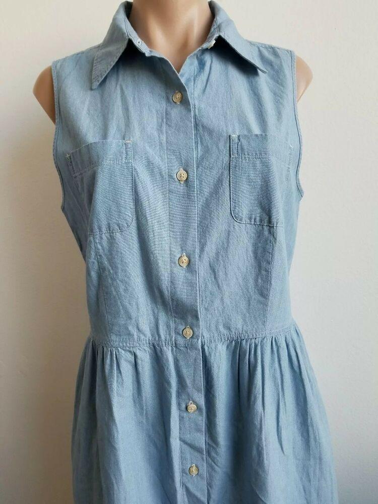 421b367b7bd  DenimDress Eddie Bauer Lightweight Blue Denim Dress Button Up Sleeveless  Dress SZ Tall M -