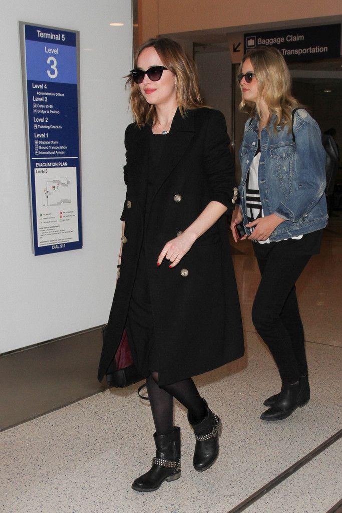 Dakota Johnson is seen at LAX