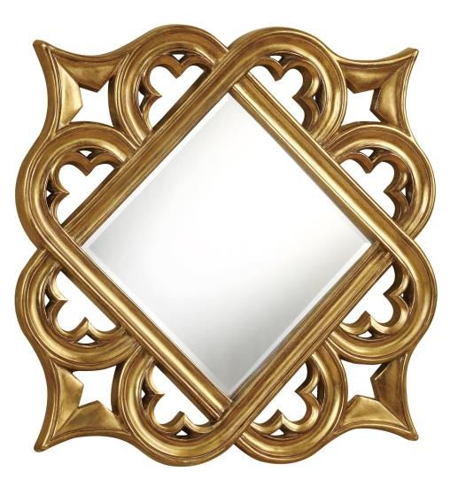 Decorative Gold Mirrors. Gold finish clover leaf diamond shaped frame design decorative wall mirror