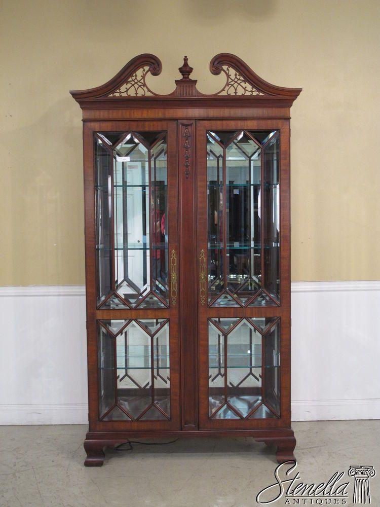 26342: HENKEL HARRIS Beveled Glass Mahogany 2 Door Curio Cabinet ...