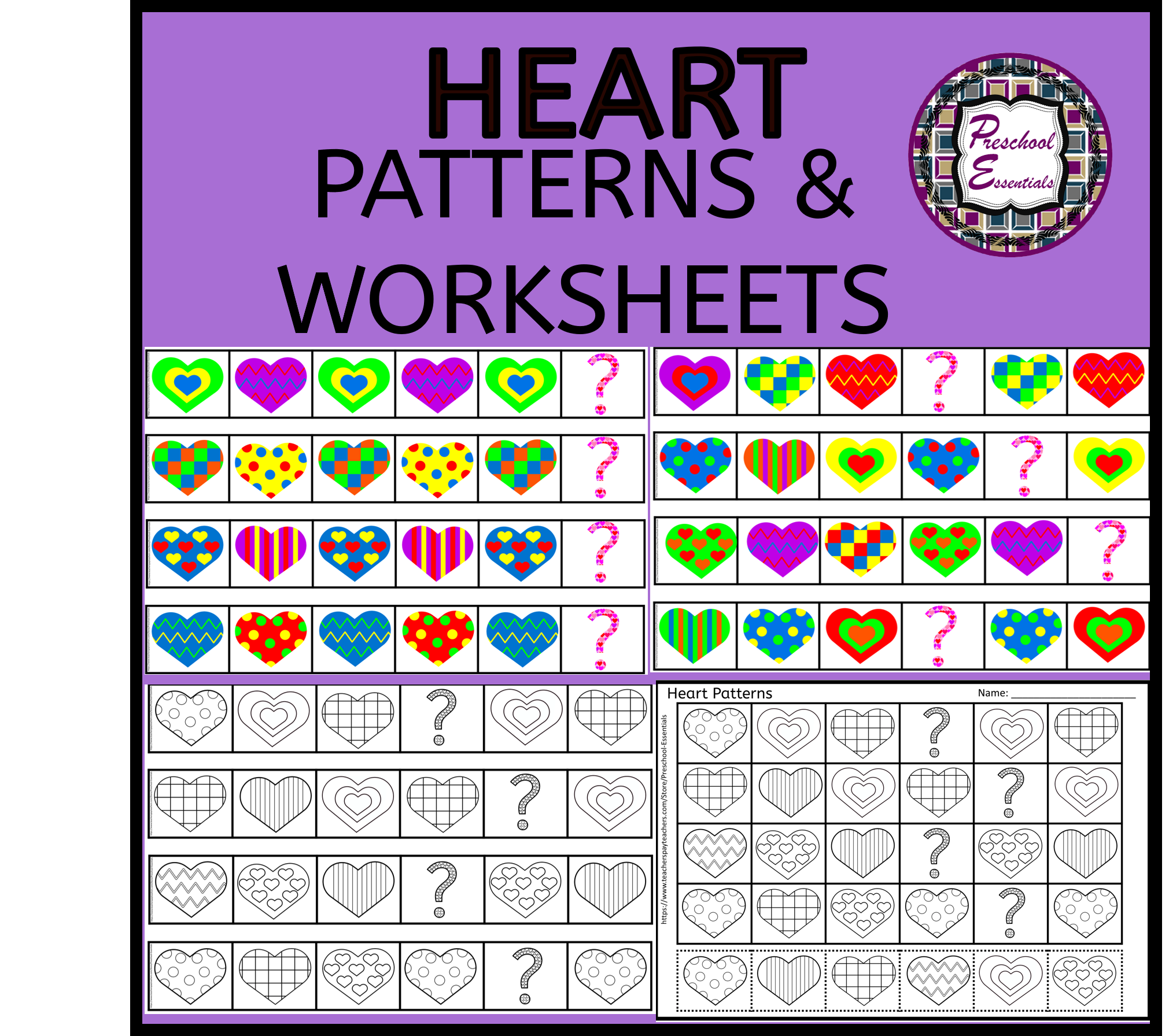 Heart Pattern Cards And Worksheets Pattern Worksheet Heart Patterns Card Patterns [ 1792 x 2021 Pixel ]