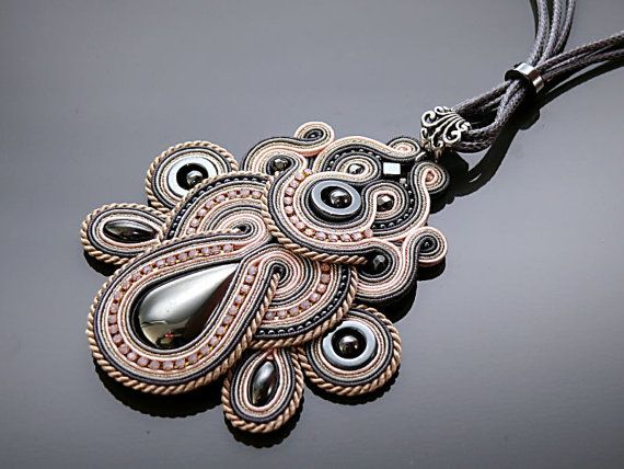 Gray and light pink Soutache necklace with Haematite. by ANBijou