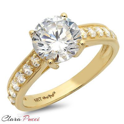 Diamoire Jewels Round Cut Swarovski Zirconia Solitaire Ring in 10Kt Yellow Gold - UK U - US 10 1/4 - EU 62 3/4