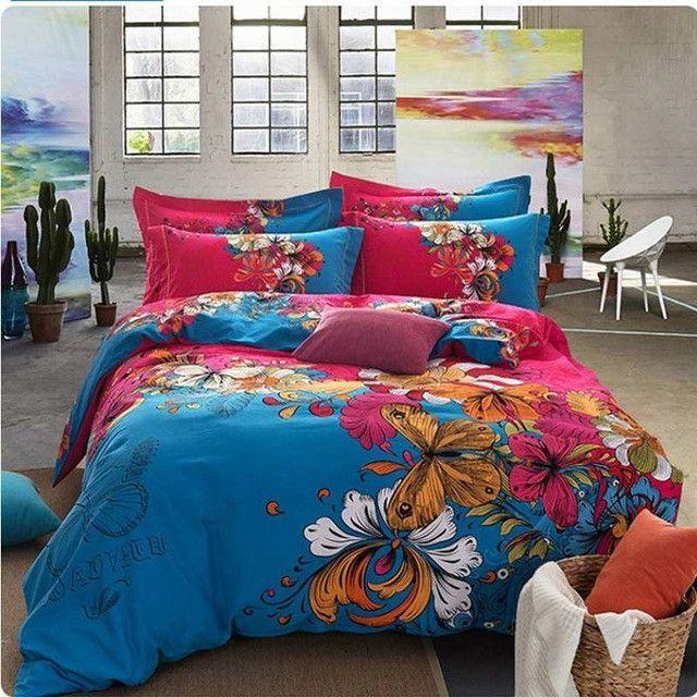 bohemia/boho red bedding set queen king size,4pcs sanded cotton winter bedclothes bed sets duvet/quilt cover bed linen sheet