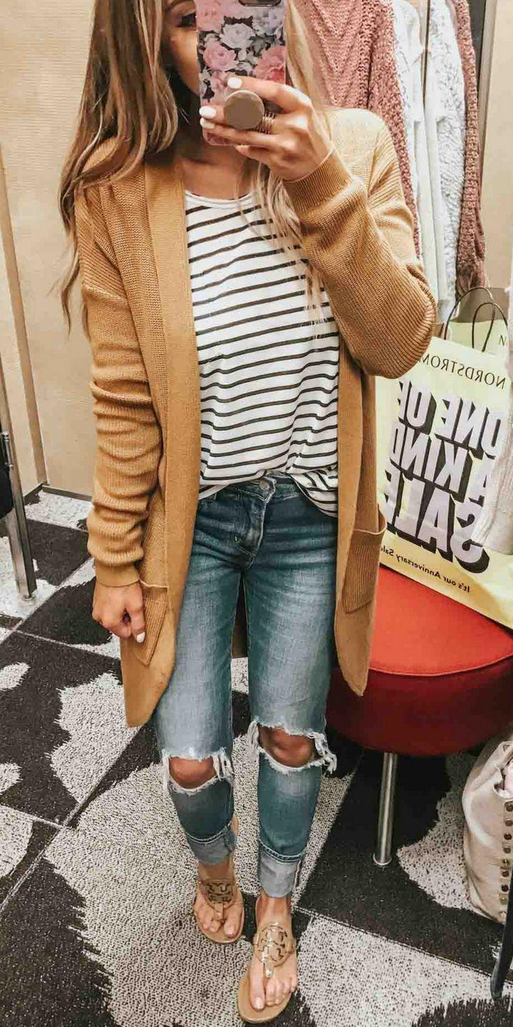 Tan Mustard Chunky Knit Cardigan Sweater Striped T Shirt Distressed Jeans Tory Burch Flip Flop Sandals