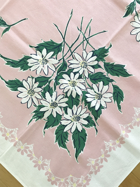 Nice Vintage Daisy Tablecloth, Pink White Colors, Picnic Table Cloth, Barkcloth  Fabric, Simtex Design