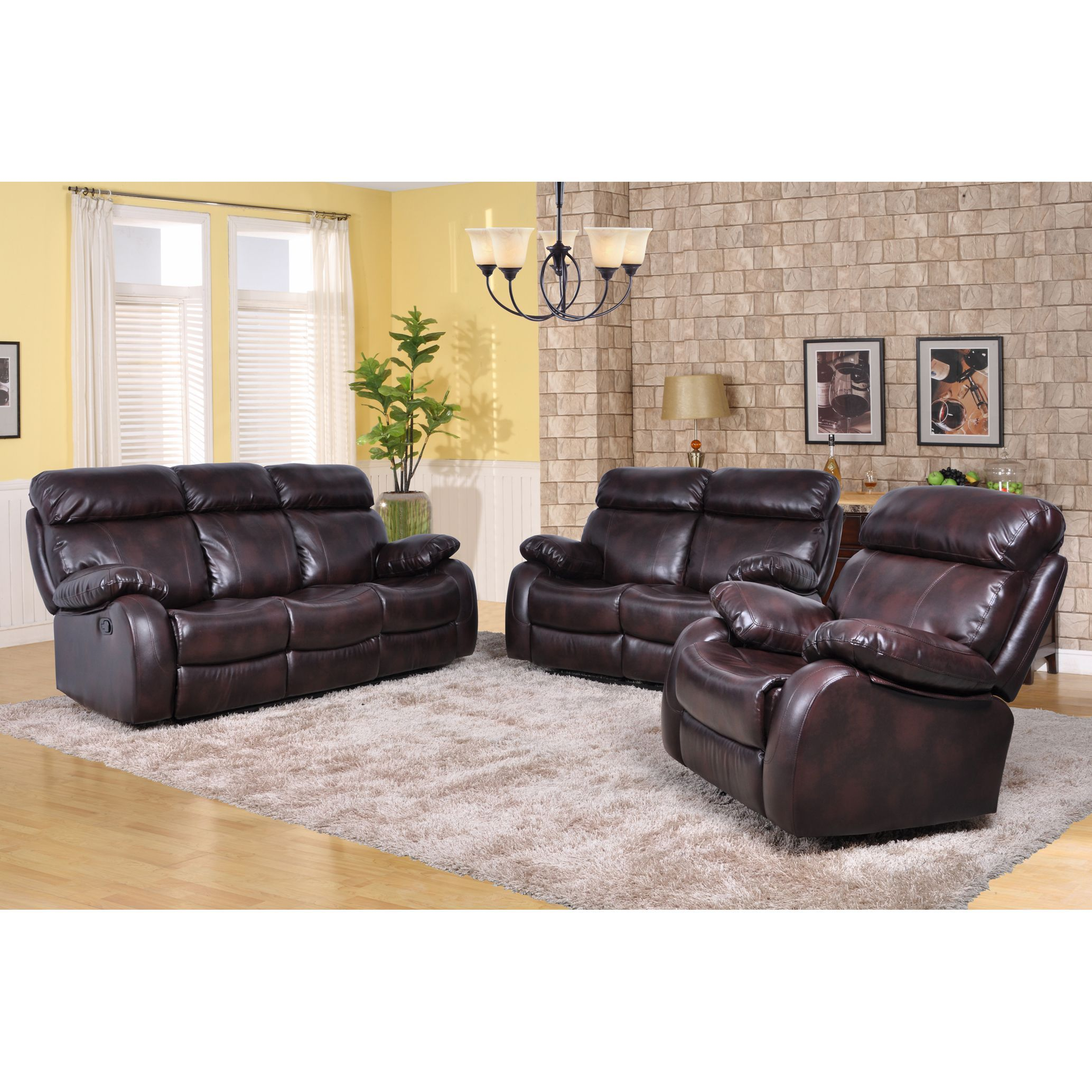 Barcelona black leather reclining piece sofa set with rocking