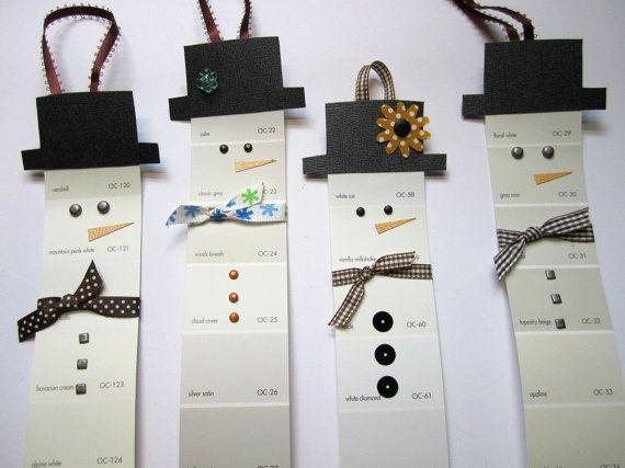 Snowman paint chips ornaments