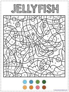 Color By Number Ocean Animals Coloring Pages Ocean Activities Numbers For Kids Coloring Pages
