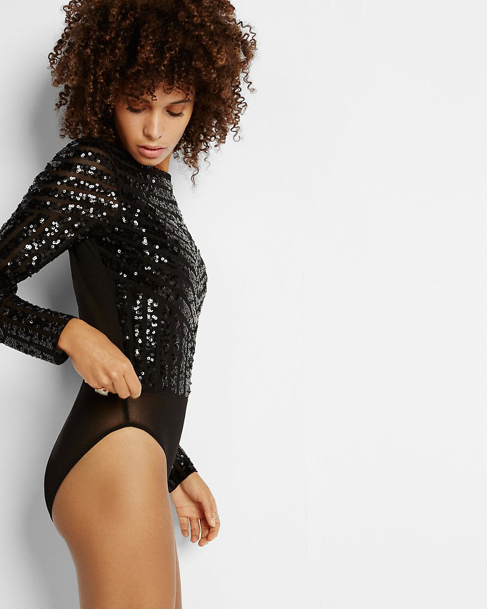 sequin front long sleeve bodysuit  e729dbbb1