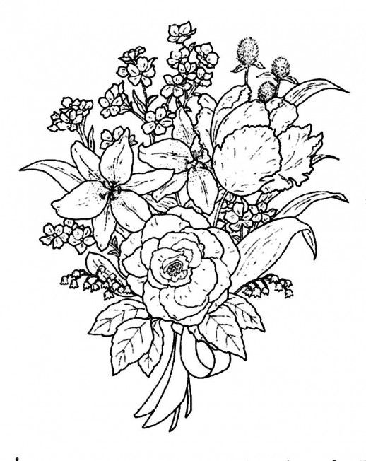 Wedding Flower Line Drawing : Special flower bouquet for the beloved person coloring
