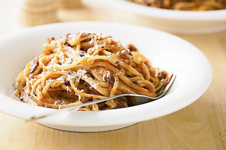 Linguine all'amatriciana   Recipe   All amatriciana. Linguine. Amatriciana