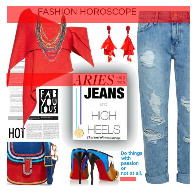 """""""Jeans and High Heels"""" by fassionista ❤ liked on Polyvore featuring Current/Elliott, Rosie Assoulin, Marc Jacobs, Christian Louboutin, Oscar de la Renta, Catherine Zoraida and Pillowfort"""