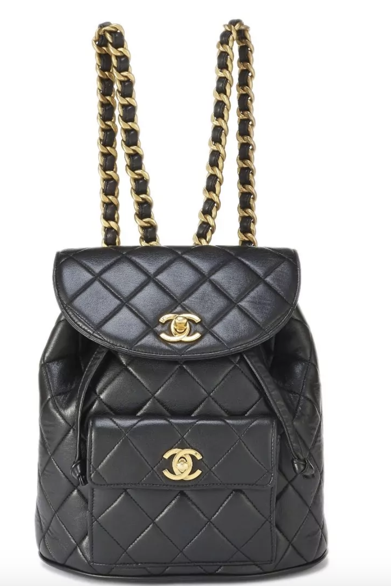 Chanel Black Quilted Lambskin Classic Backpack Small In 2020 Vintage Chanel Bag Chanel Backpack Classic Backpack