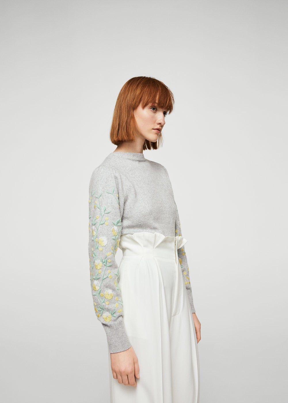 Jersey bordado floral - Mujer  d453ac02f1ee