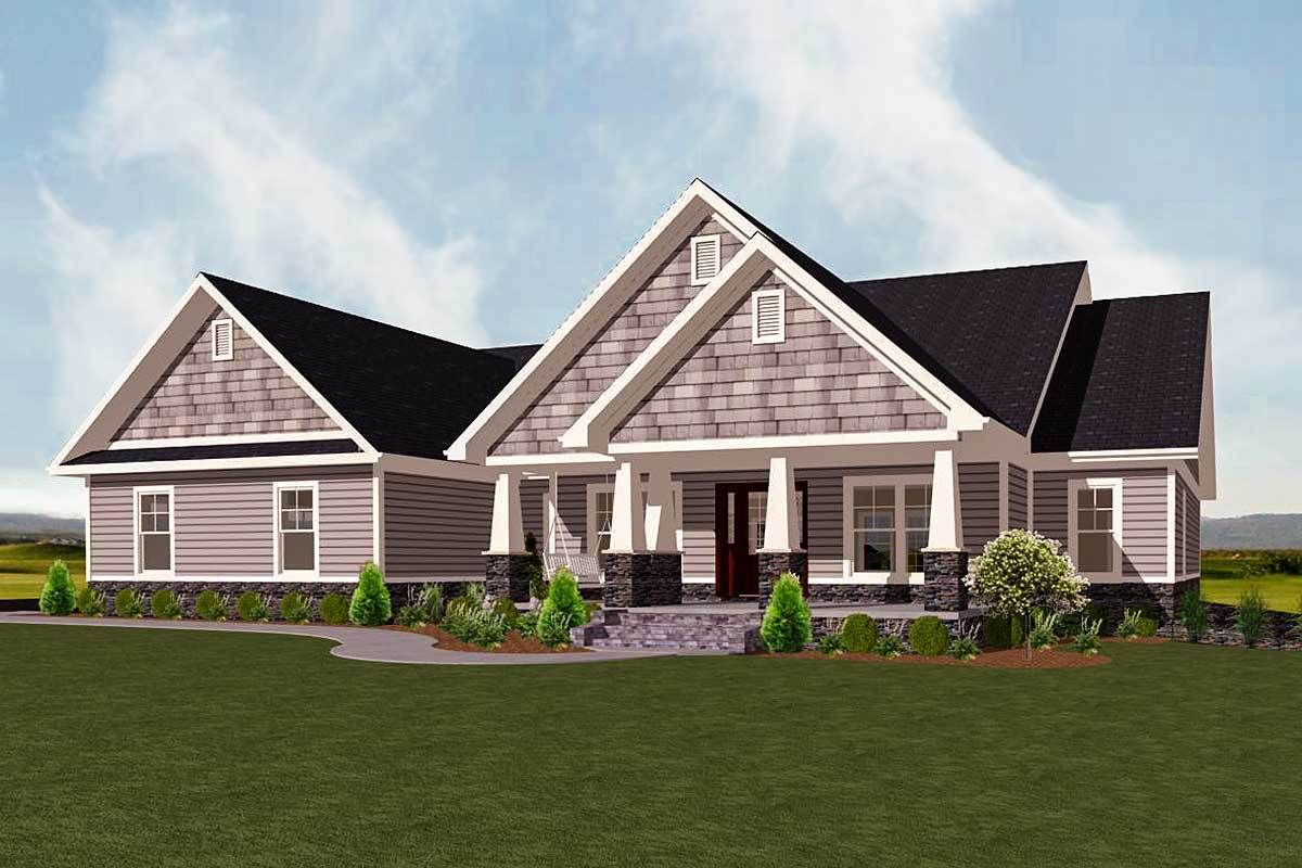 Plan 77615FB: One-Story Exclusive New American House Plan