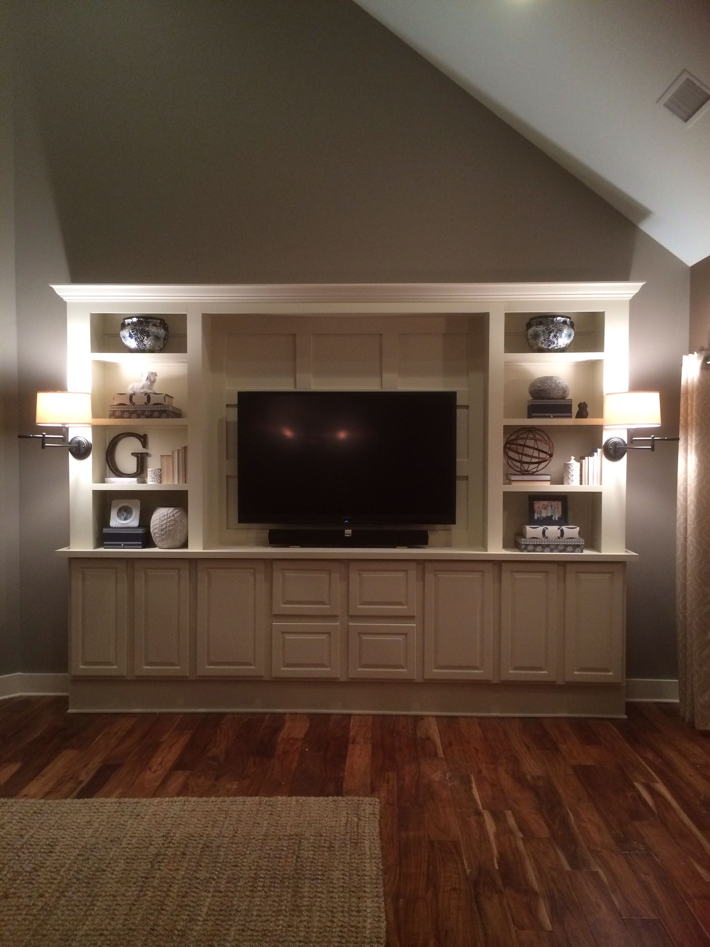 Diy entertainment center with sconce lighting living room entertainment center entertainment wall units