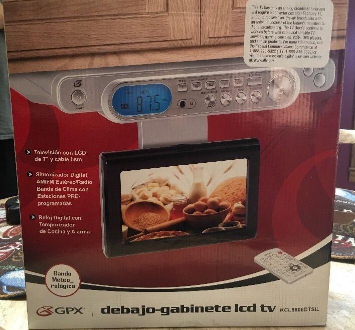 gpx under cabinet tv am fm 7 lcd screen mp3 weather clock radio rh pinterest com