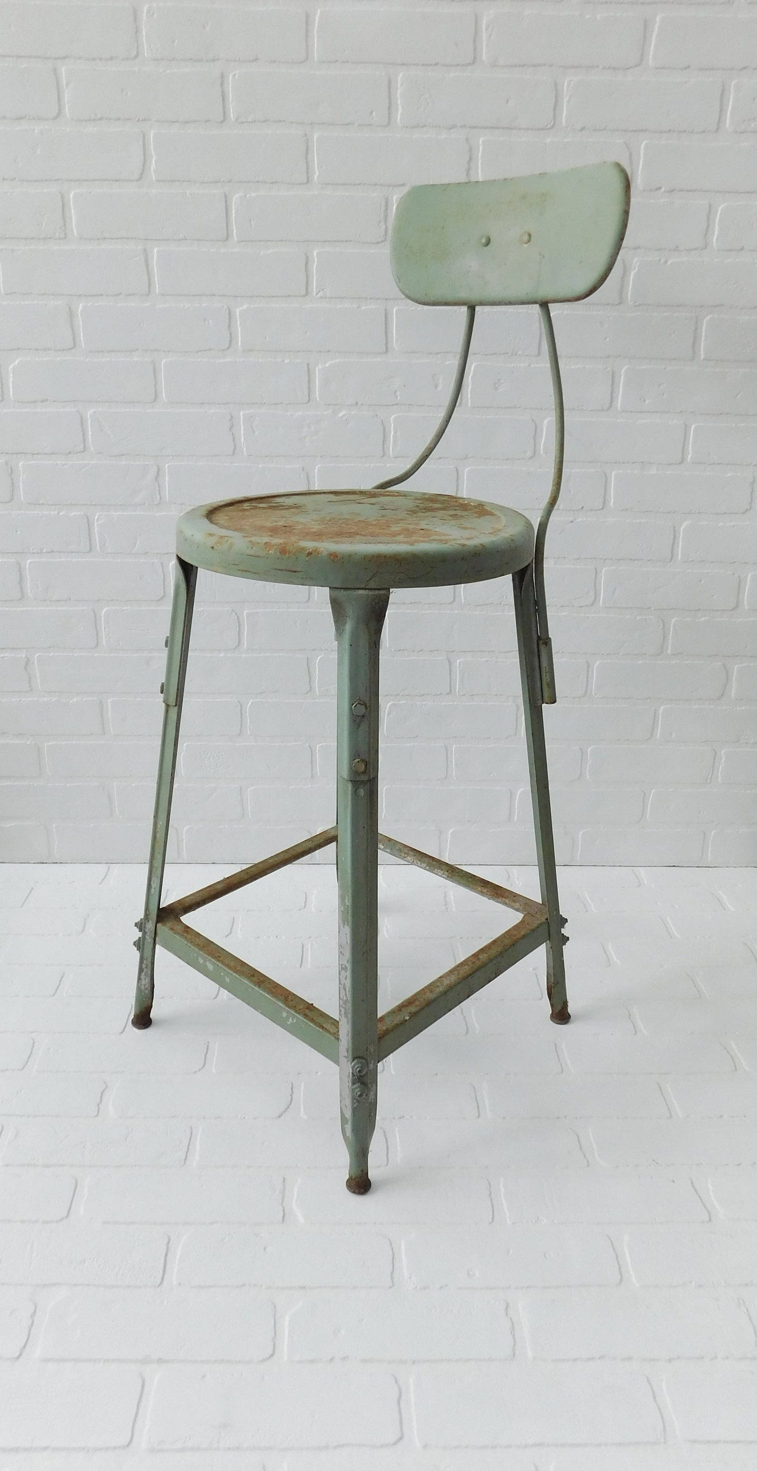 Vintage Industrial Bar Stool Measures 37 Inches In Height Seat