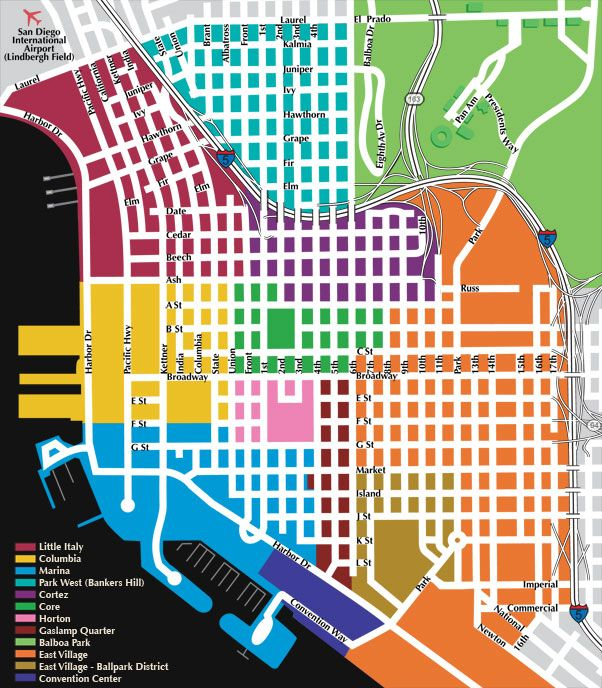 San Diego Map Downtown.Downtown San Diego Neighborhood Map Bankers Hill In 2019 San