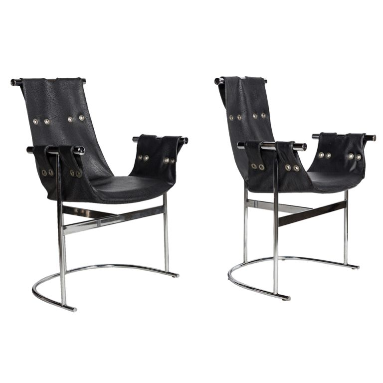 Best A Pair Of Slingback T Stand Leather Lounge Chairs 400 x 300