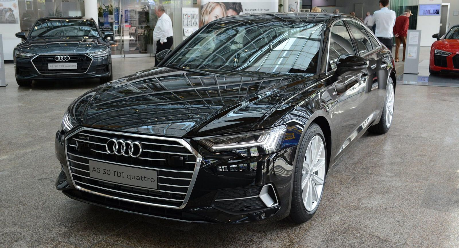 2019 Audi A6 Shows Up At The Forum Wearing Mythos Black Metallic Carscoops Audi A6 Black Audi Audi