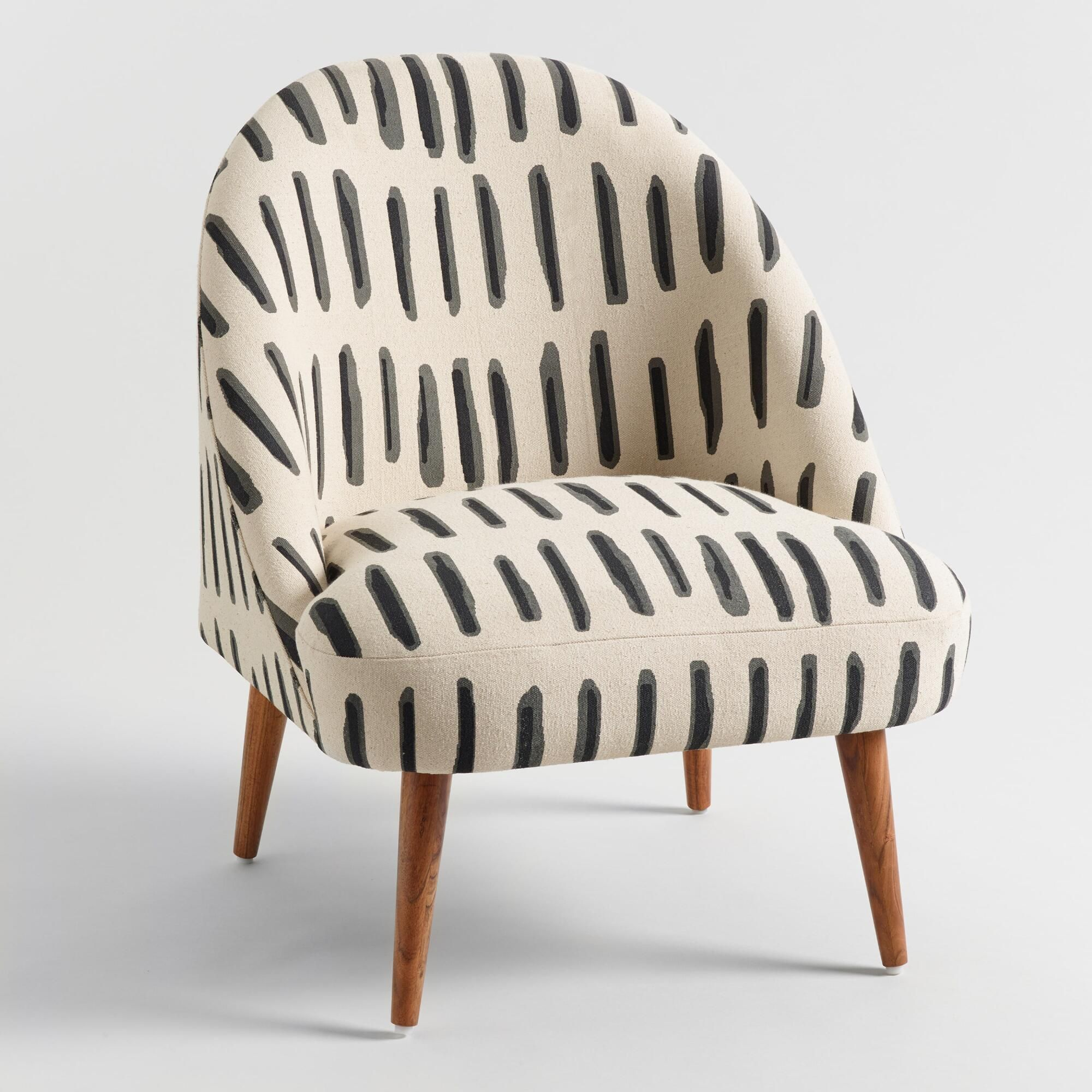 Charcoal Gray And Ivory Dash Print Noemi Tub Chair By