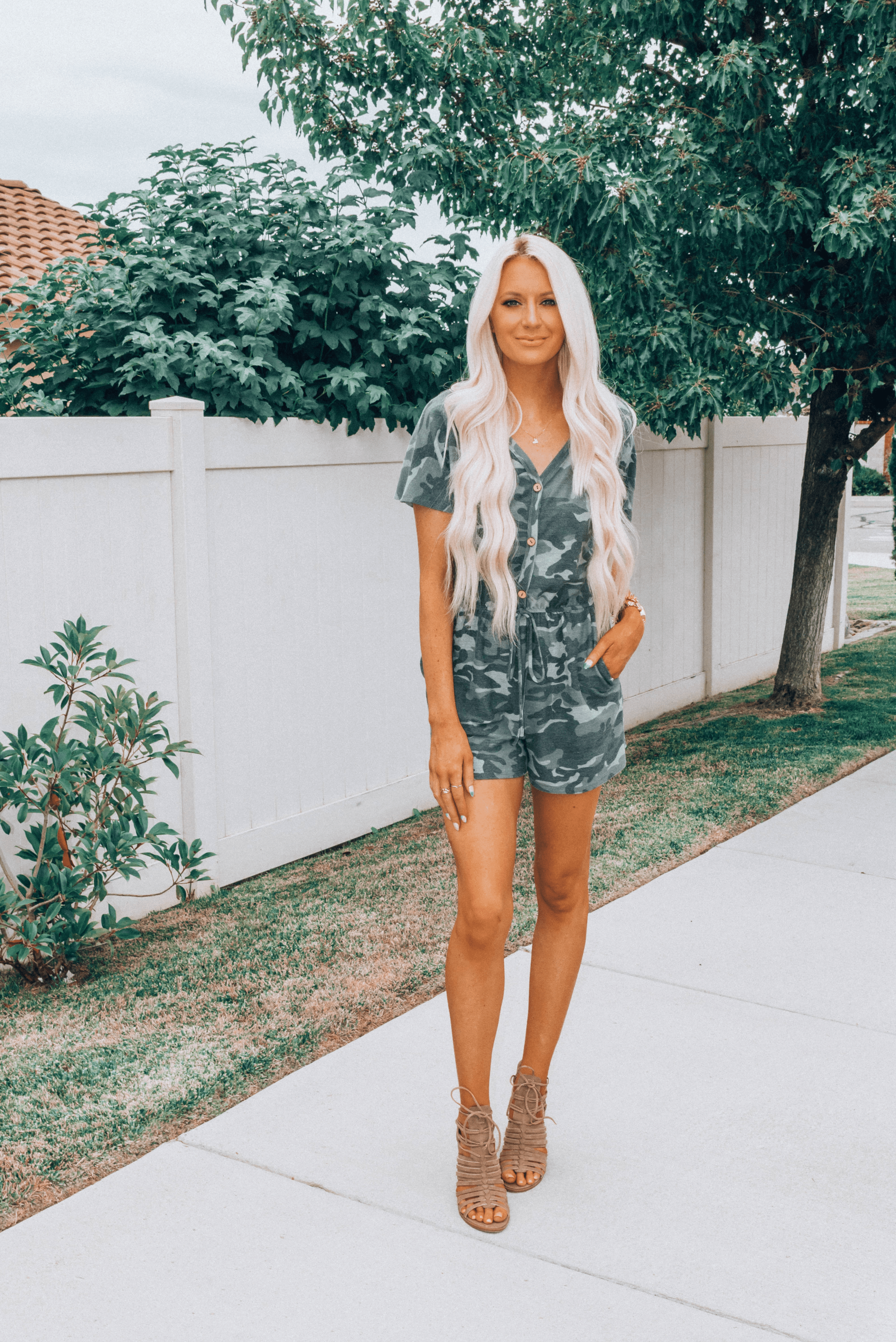 Gray Camo Romper From Pink Coconut Boutique Must Heart Style Casual Rompers Outfit Outfit Inspiration Fall Romper Outfit [ 3594 x 2400 Pixel ]