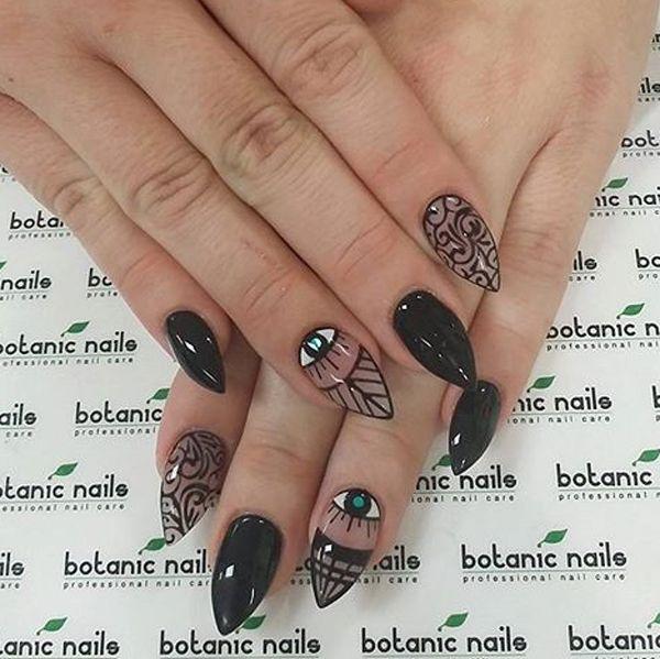 black nail art ideas esmalte de uas negroarte