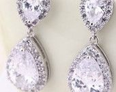 """PAIR Small Dangle Crystal Vintage Silver Wedding Prom gauges plugs tunnels earrings 2g 0g 00g 7/16"""" 1/2"""" 6mm 8mm 10mm 11mm 12mm"""