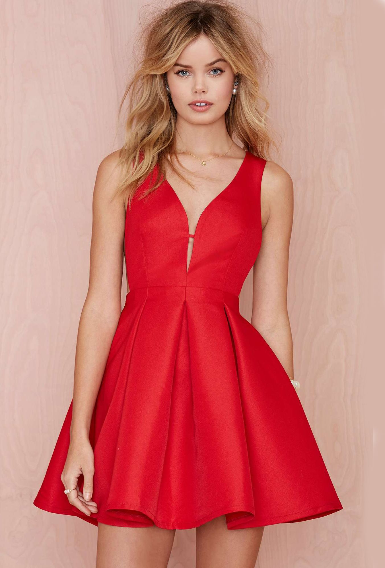 Shop Red Sleeveless Flare Dress online. Sheinside offers Red ...