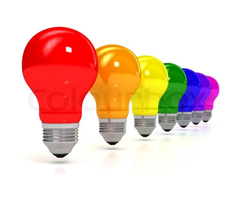 Stock image of 'Rainbow bulb over white background. computer generated image'