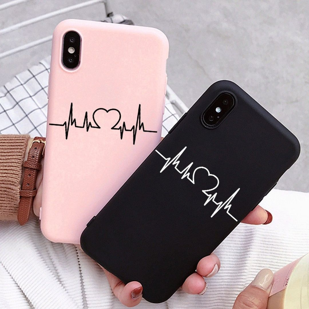 Heart Line Print Couple Phone Case for iPhone 11 Pro Max Cover XS Max XR X 8 7 6 Plus 5 Samsung A50 A70 A51 A71 S11 S8 S9 S10 S7 A40 A30 A10 A20 A8 A