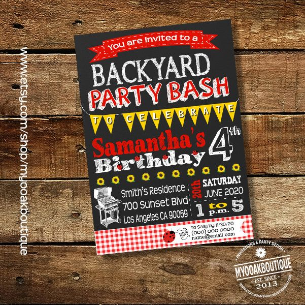 Backyard Party Bash Birthday Lady Bug Invitation Barbecue Birthday