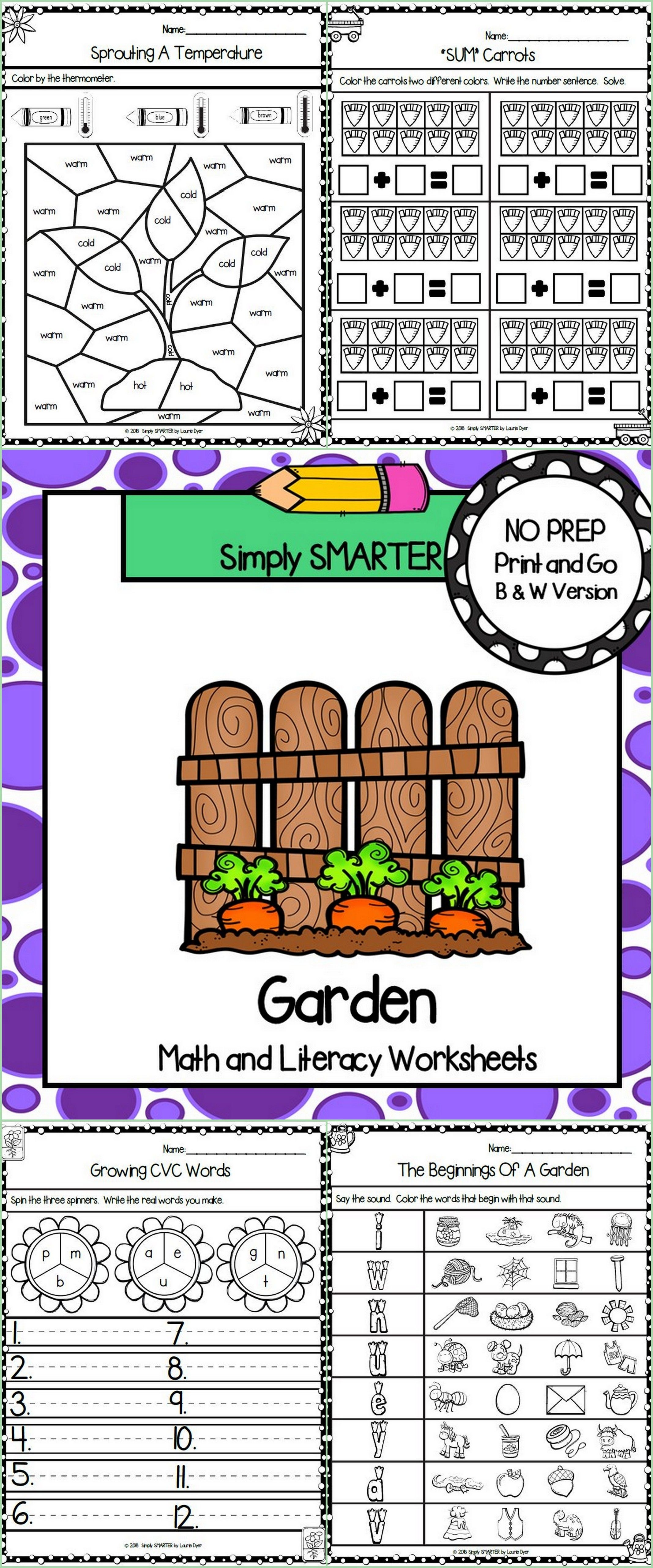 Garden Themed Kindergarten Math And Literacy Worksheets
