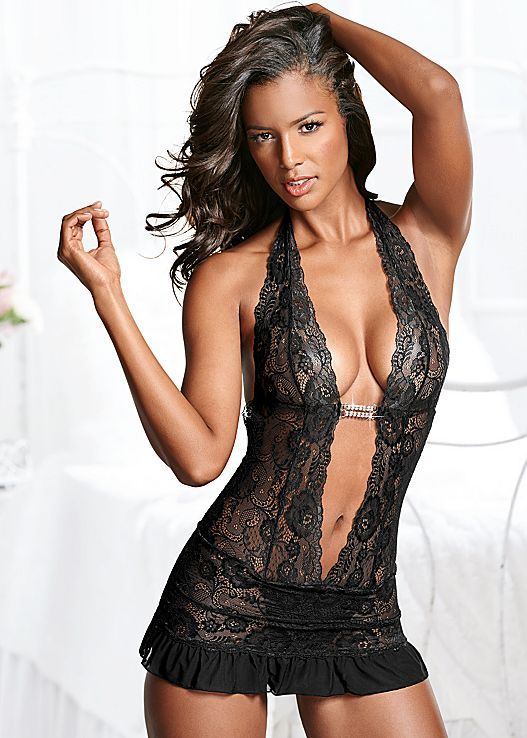 acf62d0f0 Deep v sheer lace negligee in 2019