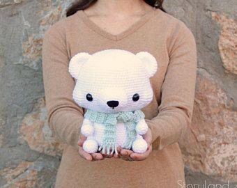 Amigurumi Crochet Patterns Teddy Bears : Pattern cuddle sized polar bear amigurumi crocheted teddy bear