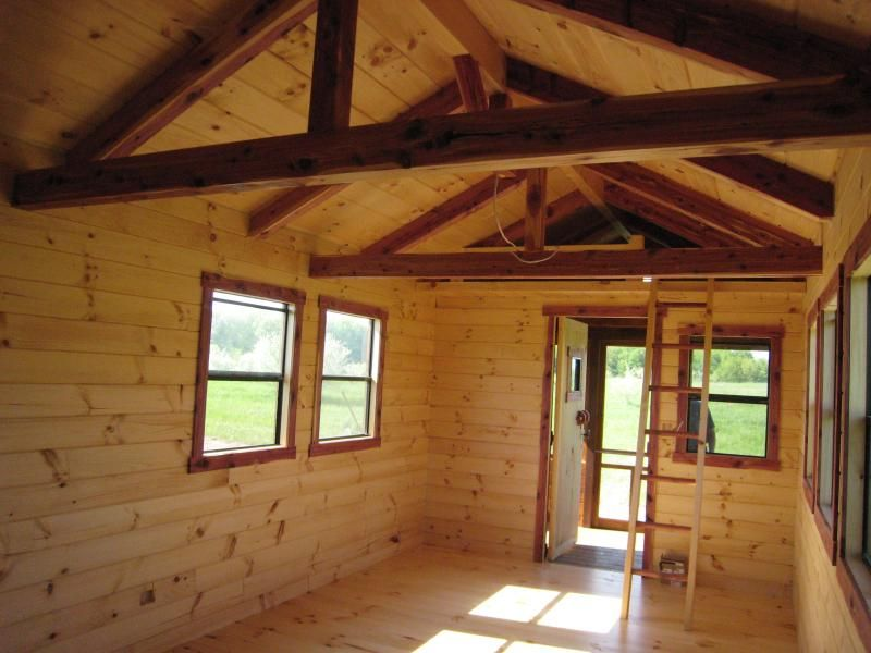 Log Cabin Look Interior Walls Cabins Llc 10 X 26 Hunter 260 S F Standard 10 X 22 Interior Interior Windows Cabin Loft Railing