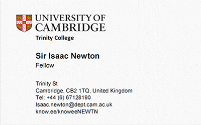 Know Ee Knowee Digital Business Card Isaac Newton Community Boards
