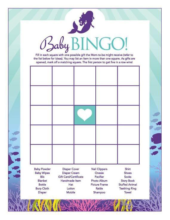 Instant Download Little Mermaid Baby Shower Bingo Game, Printable Mermaid Baby Bingo, Teal Purple Mermaid Theme Baby Shower Bingo Game 70A