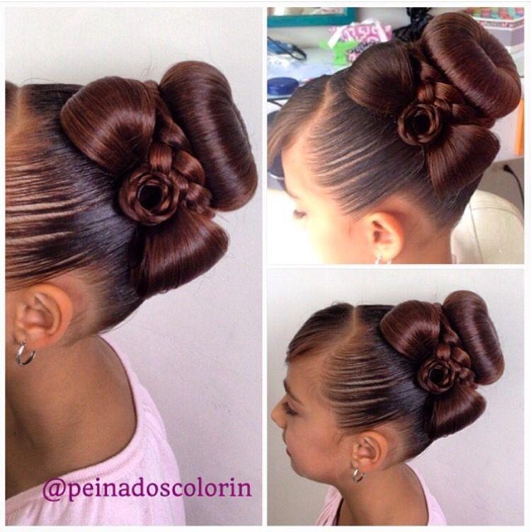 Hermoso peinado con Dona y corbata PEINADO DE NIÑA Pinterest - peinados de nia faciles de hacer