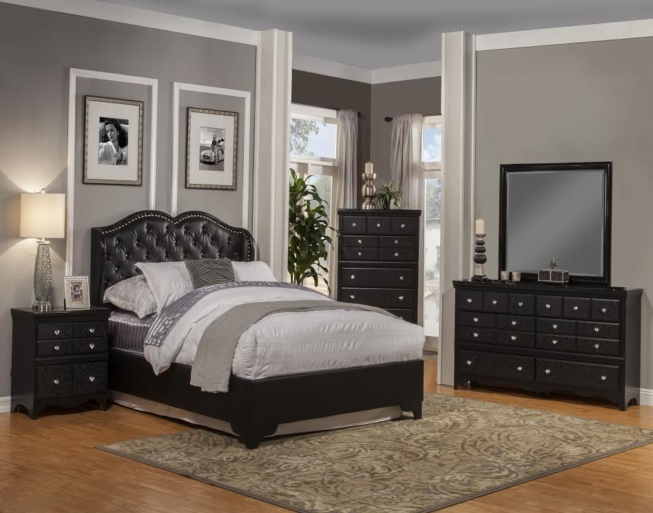 Contemporary Bedroom Set By Sandberg In Black Beautifully Shaped Nostalgic Upholstered Bed Featuring Deep Tufted Leather Like Finish W Furniture Bedroom Sets Bedroom Night Stands