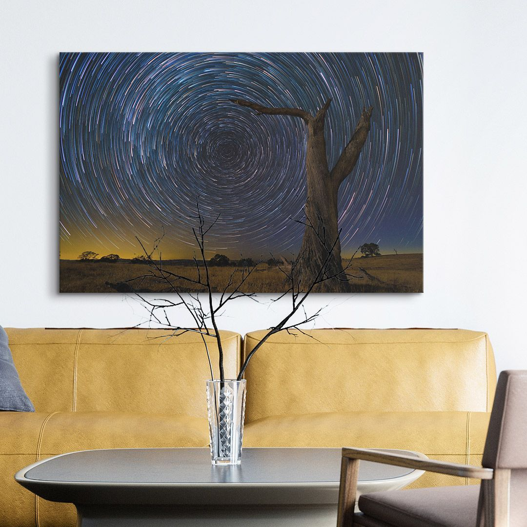 Star Trails Over The Wilderness Big Wall Art Photo To Art Living Room Art