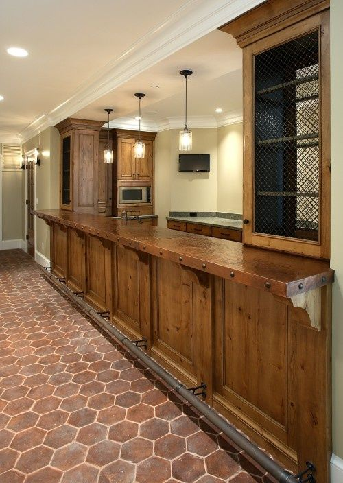 amazing Houzz Basement Bars Part - 10: basement bar with brick and copper bar top | visit houzz com