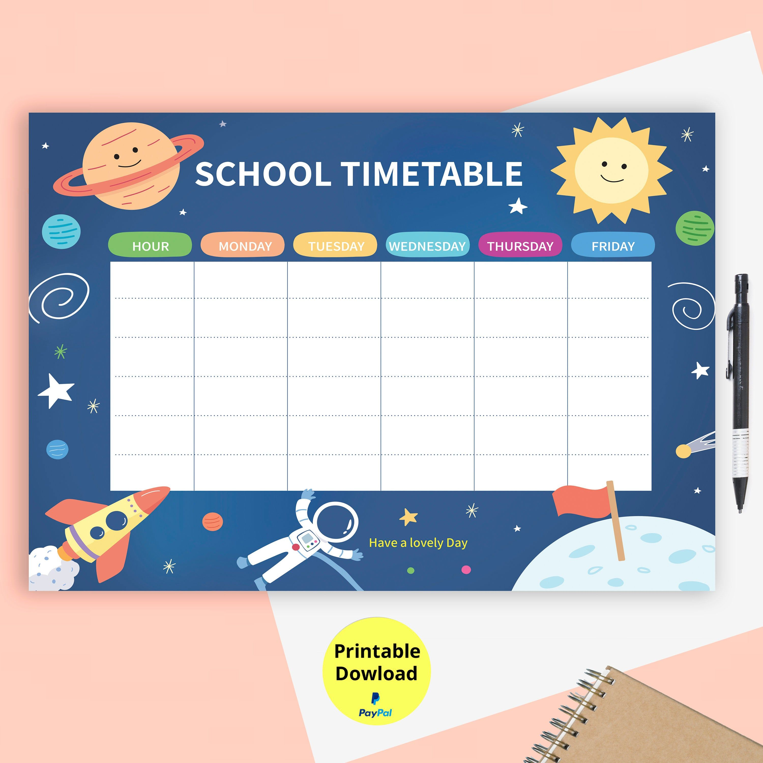 Weekly Planner Printable Weekly Printables School Timetable To Organize Free Vector Daily Schedule Home Schoo School Timetable Kids Planner Homeschool Planner