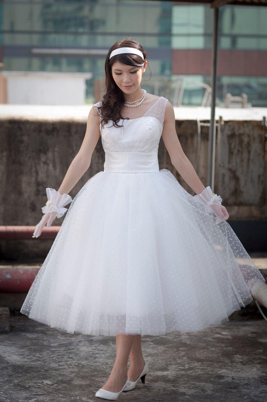 50's Vintage inspired POLKA DOT tea length wedding dress