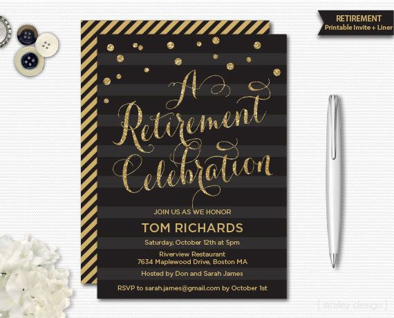 Retirement Invitation Retirement Party Retirement By Marleydesign