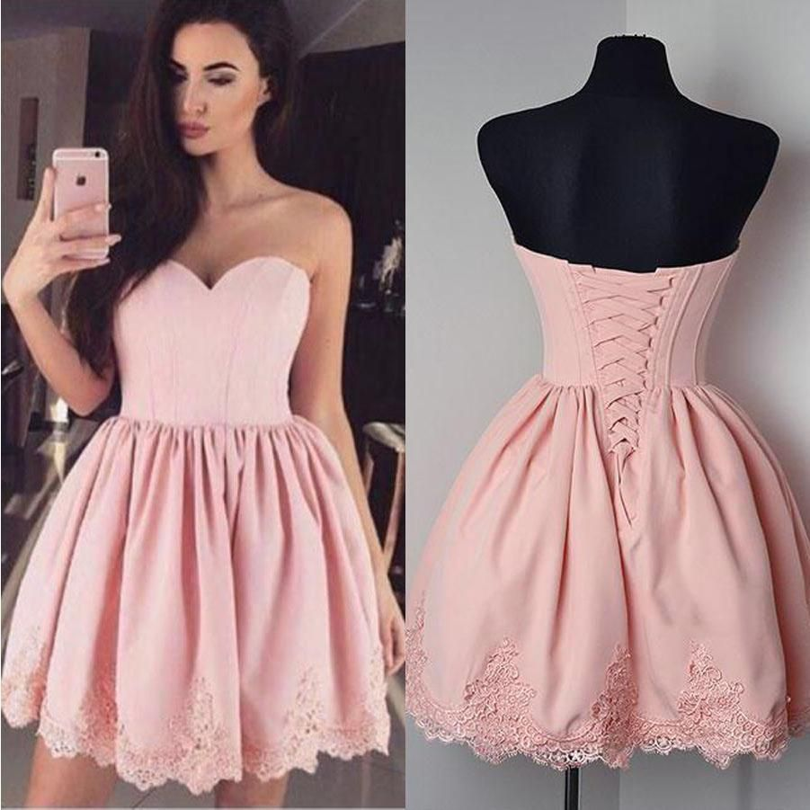 Pink sweetheart strapless homecoming dressesopen back appliques